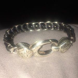 Brighton BELLA Silver & Braided Leather Bracelet